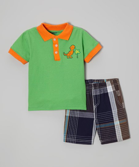 Green & Orange Dinosaur Polo & Plaid Shorts - Infant