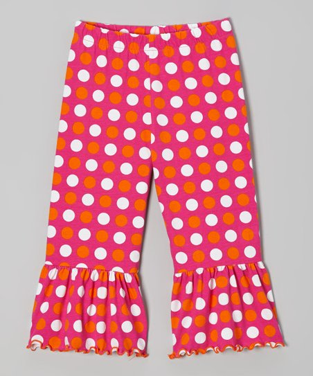 Fuchsia & Orange Polka Dot Ruffle Capri Pants - Toddler & Girls