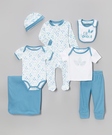 Blue 'L'il Sprout' Seven-Piece Layette Set - Infant