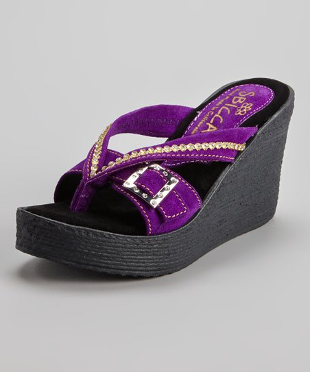 Purple Suede Horizon Wedge Sandal