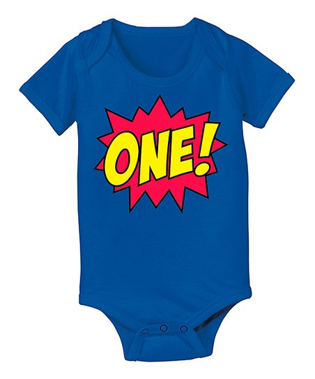 Royal Blue 'One!' Comic Bodysuit - Infant