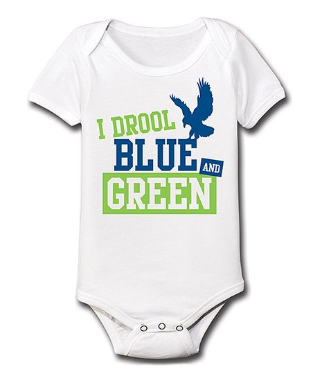 White 'I Drool Blue and Green' Bodysuit - Infant