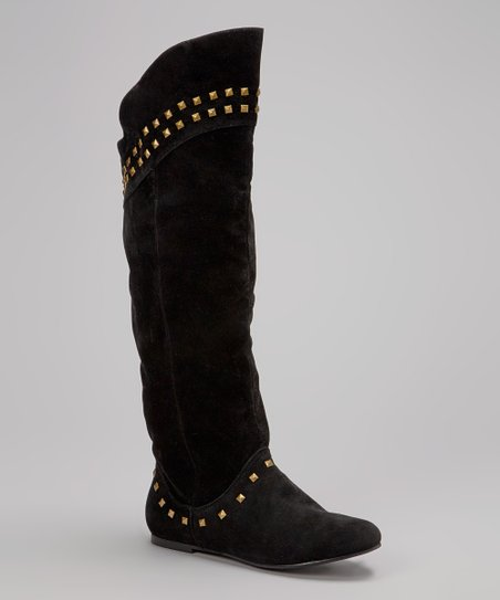 Black Studded Flat Boot