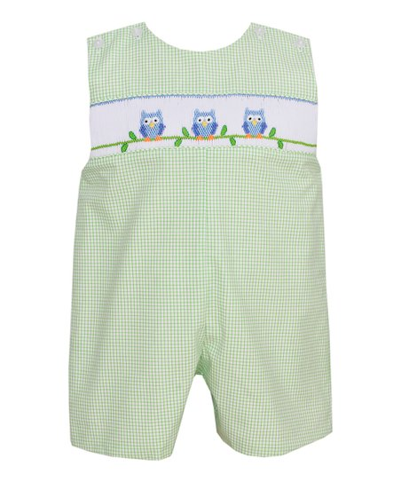 Green Gingham Owl John Johns - Infant & Toddler