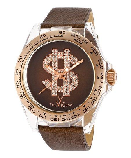 Brown & Tan Sparkle Dollar Sign Satin Watch
