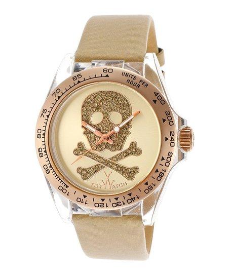 Gold & Beige Skull Jewel Satin Watch