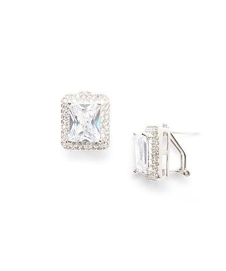 Cubic Zirconia & Sterling Silver Radiant-Cut Earrings