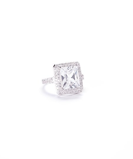 Clear Cubic Zirconia & Sterling Silver Square Radiant-Cut Ring