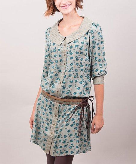 Gray & Blue Floral Anita Shirt Dress