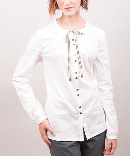 White Bow Tie Sara Button-Up Top