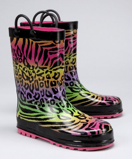 Black & Pink Safari Rain Boot