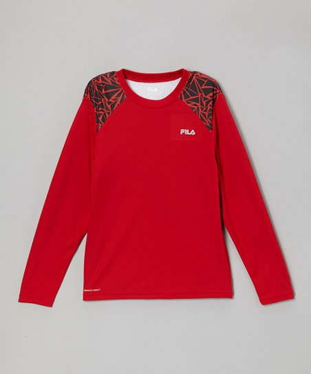 Red & Black Long-Sleeve Performance Tee - Boys
