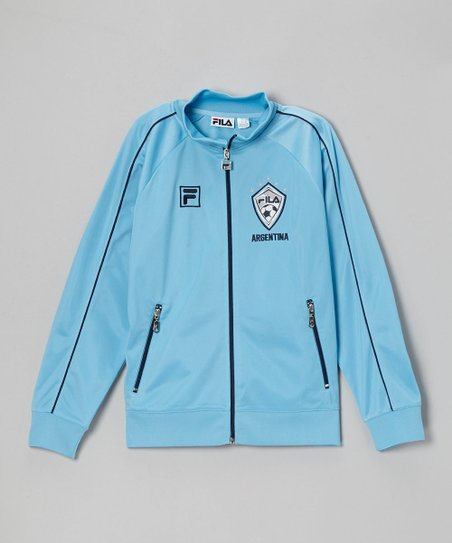 Blue 'Argentina' Zip-Up Track Jacket - Boys
