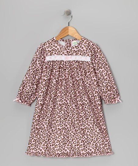 Pink & Brown Leopard Heart Nightgown - Toddler