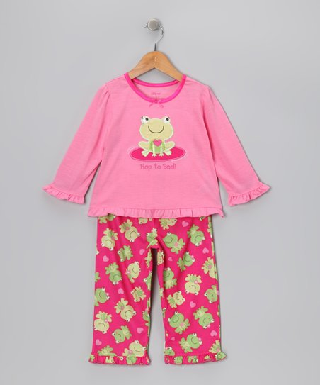 Pink &amp; Green &#039;Hop to Bed&#039; Frog Pajama Set - Toddler