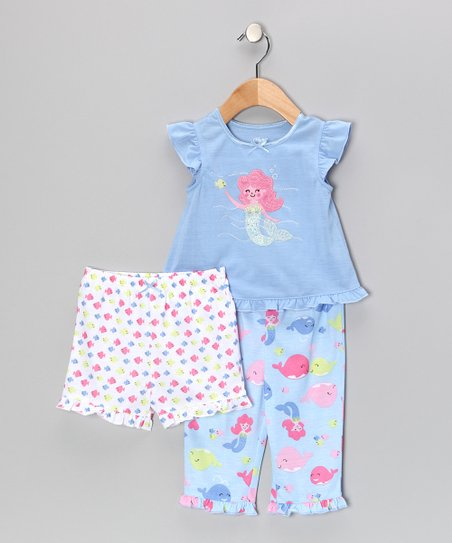 Blue Sea Mermaid Ruffle Pajama Set - Infant &amp; Toddler