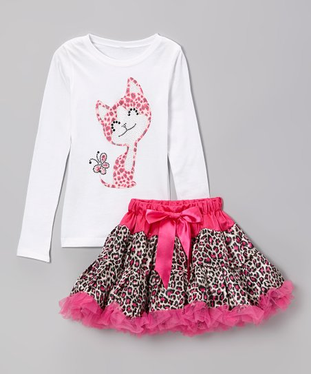 Hot Pink Kitty Tee & Leopard Pettiskirt - Infant, Toddler & Girls