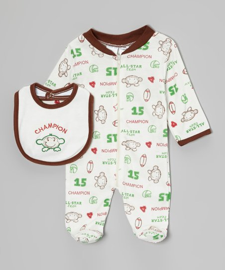 White 'Champion' Monkey Footie & Bib