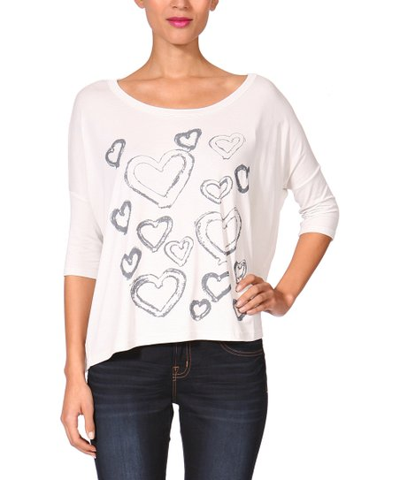 White Heart Dolman Top