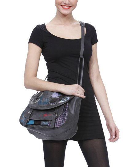 Black Patch Crossbody Bag