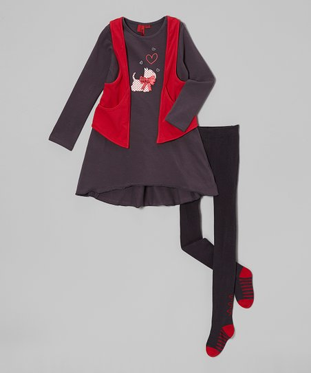Charcoal & Red Scottie Dog Tunic Set – Girls