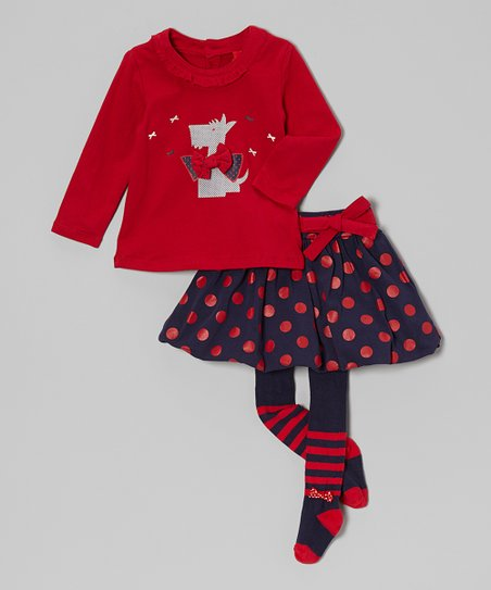 Red & Navy Scottie Dog Tee Set – Infant & Toddler