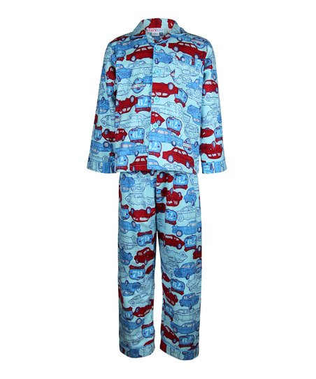 Blue & Red Retro Car Pajama Set - Toddler & Boys