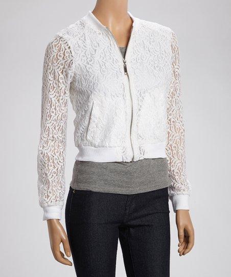 White Lace Overlay Zip-Up Jacket