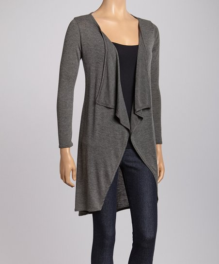 Gray Hi-Low Open Cardigan
