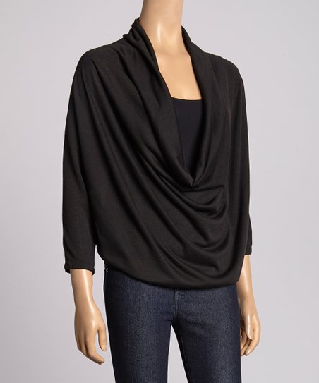 Black Three-Quarter Sleeve Drape Top