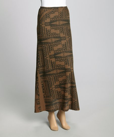 Black & Brown Tribal Maxi Skirt
