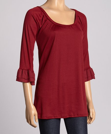 Burgundy Ruffle Scoop Neck Top