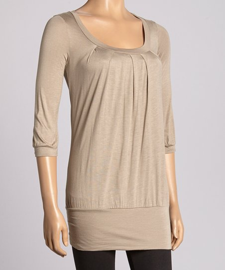Taupe Scoop Neck Top