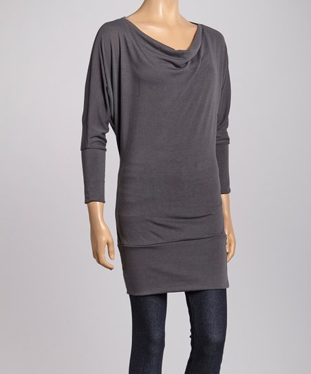 Charcoal Three-Quarter Sleeve Tunic