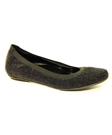 Black Sparkle Suede Sheary Flat