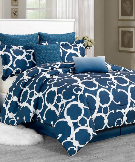 Indigo Rhys Hotel Quilted Overfilled Comforter Set
