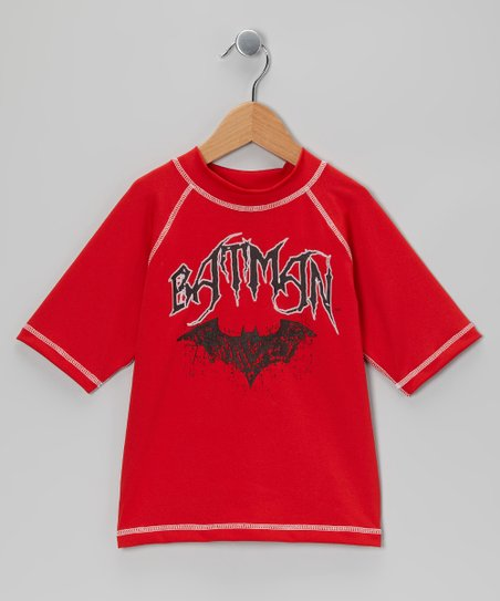 Red 'Batman' Rashguard - Boys