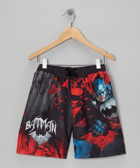Black &amp; Red Batman Boardshorts - Boys