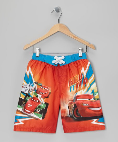 Aqua &amp; Orange Cars Boardshorts - Boys