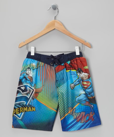 Navy Superman Boardshorts - Boys