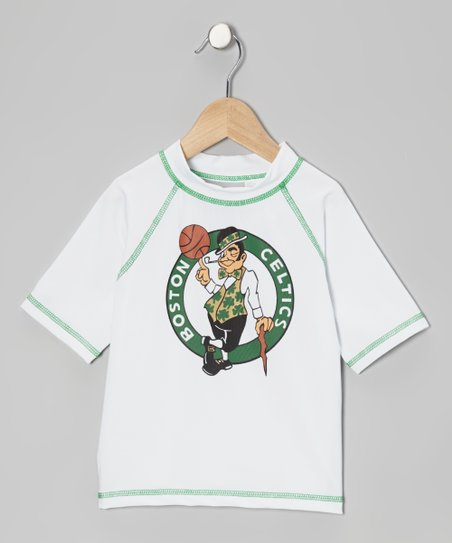 White & Green 'Boston Celtics' Rashguard - Kids