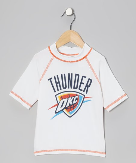 White & Orange 'OKC' Rashguard - Toddler & Kids