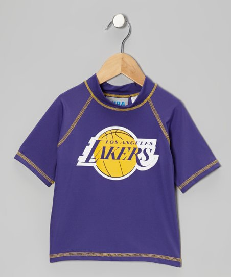 Purple & Yellow 'Los Angeles Lakers' Rashguard - Toddler & Kid