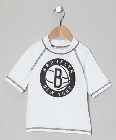 White & Black 'Brooklyn New York' Rashguard - Kids