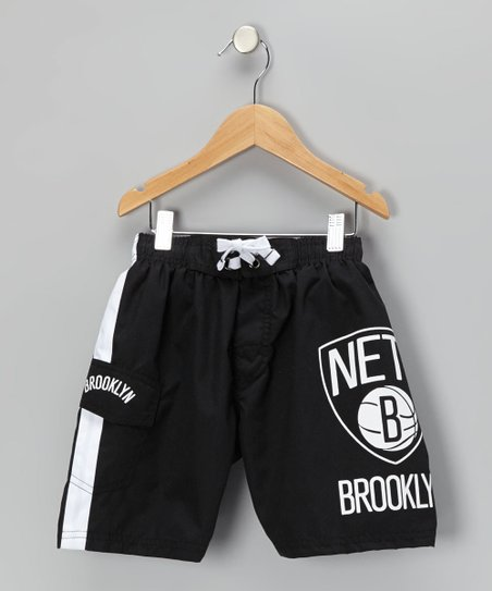 Black & White 'Brooklyn Nets' Cargo Boardshorts - Boys