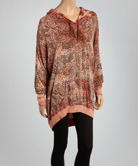 Peach & Brown Paisley Hooded Pullover