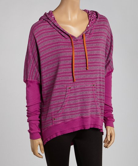Fuchsia Stripe Hooded Pullover
