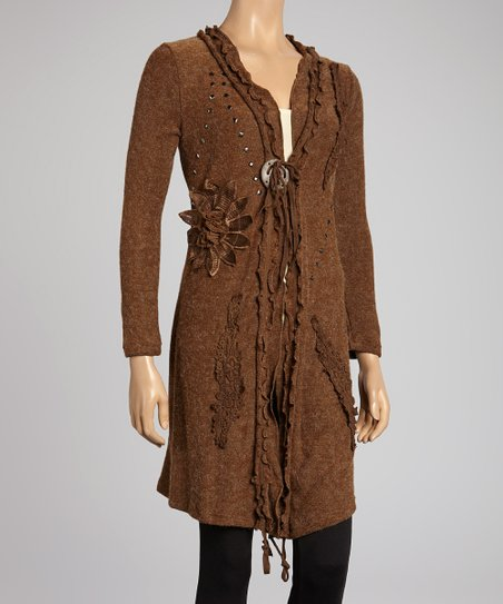 Coffee Embroidered Linen-Blend Duster