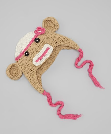Brown & Pink Monkey Earflap Beanie