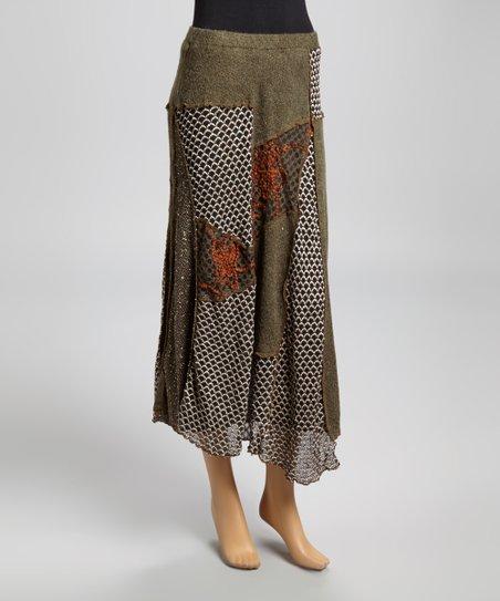 Brown & Green Patchwork Skirt